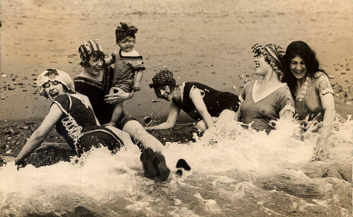 summer vintage bygone days past ladies in the sea